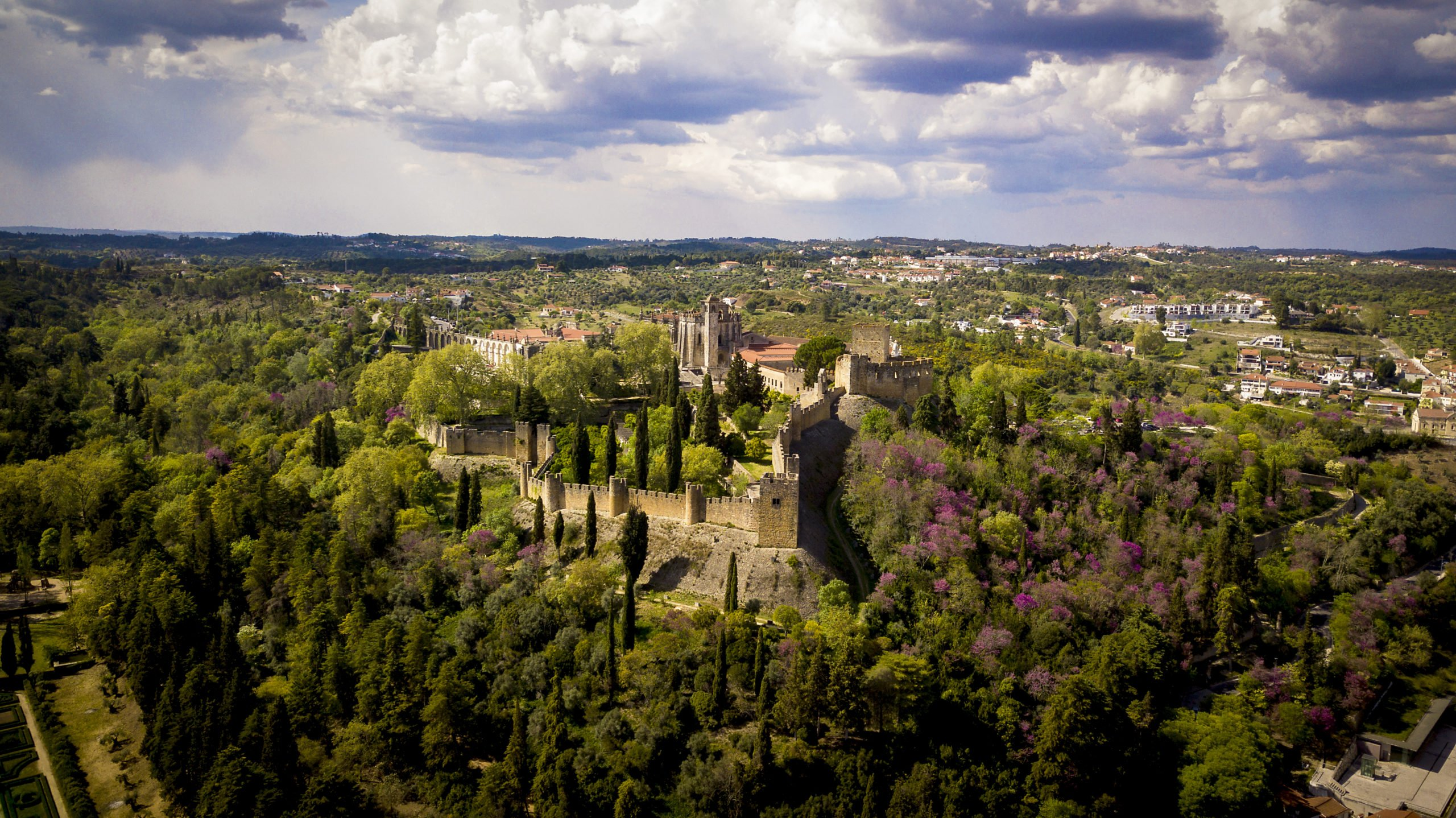 air view of the convent of christ and the castle of Tomar